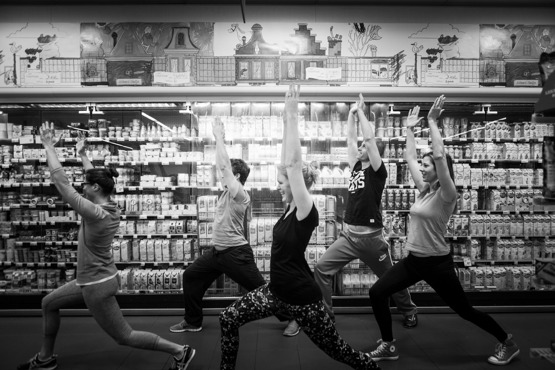 yoga in de supermarkt