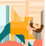 icoon staande yoga houding